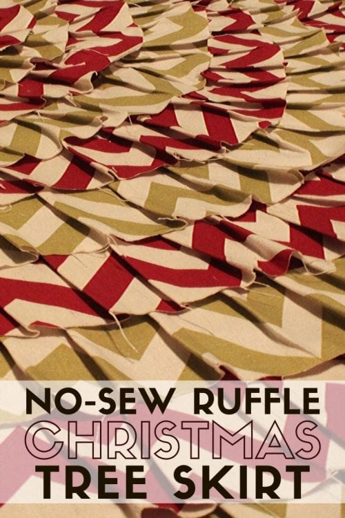 How to Make a No-Sew Ruffle Christmas Tree Skirt, a tutorial featured by top US craft blog, The Crafty Blog Stalker.