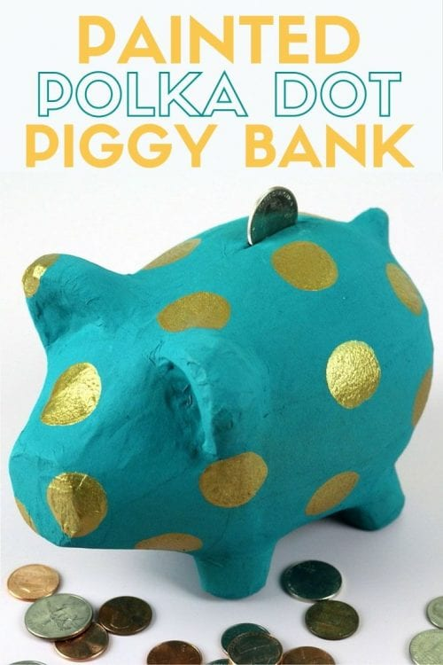 How to Make a Painted Polka Dot Piggy Bank, a tutorial featured by top US craft blog, The Crafty Blog Stalker.