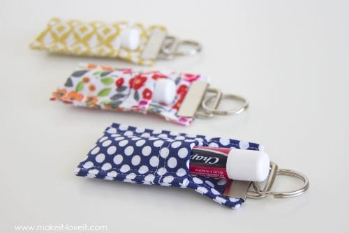 20 of the Best Handmade Keychains & Keyrings featured by top US craft blog, The Crafty Blog Stalker: fabric chapstick holder keychain.