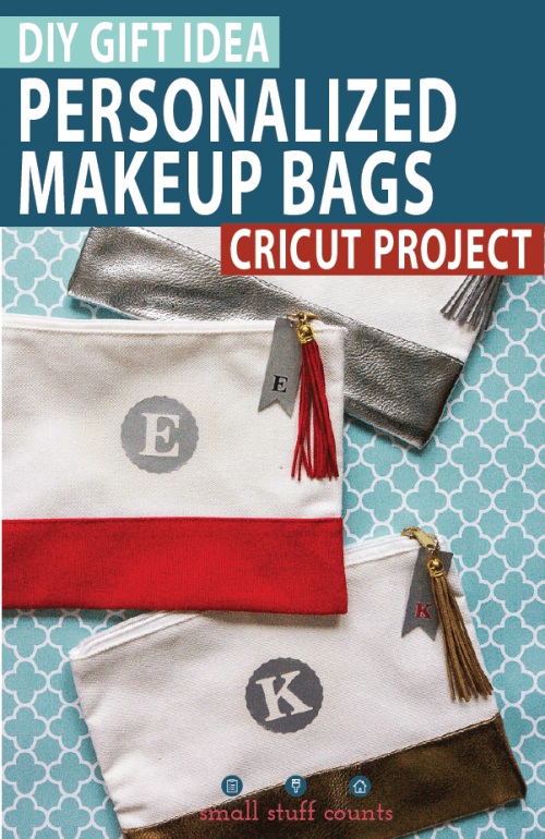 25 Cricut Personalized Gifts featured by top US craft blog, The Crafty Blog Stalker: monogram makeup bag.