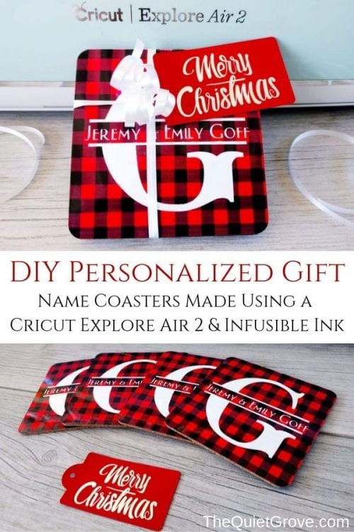 25 Cricut Personalized Gifts featured by top US craft blog, The Crafty Blog Stalker: personalized coasters.