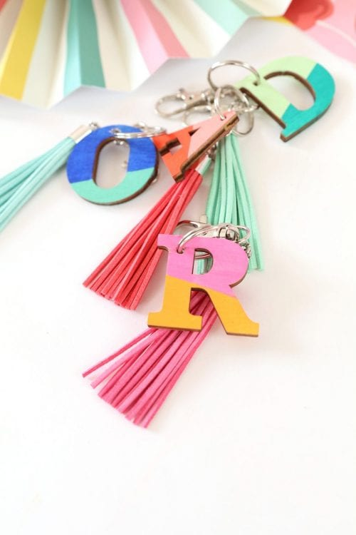 20 of the Best Handmade Keychains & Keyrings featured by top US craft blog, The Crafty Blog Stalker: wood monogram keychains.