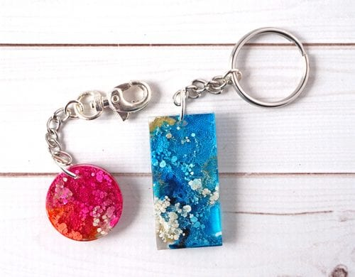 20 of the Best Handmade Keychains & Keyrings featured by top US craft blog, The Crafty Blog Stalker: alcohol ink resin keychains