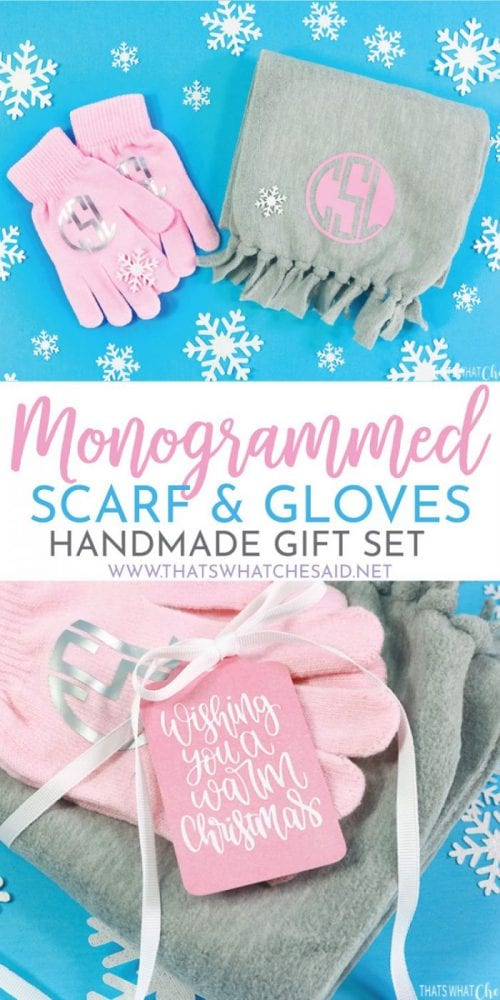 25 Cricut Personalized Gifts featured by top US craft blog, The Crafty Blog Stalker: personalized scarf and gloves gift set.