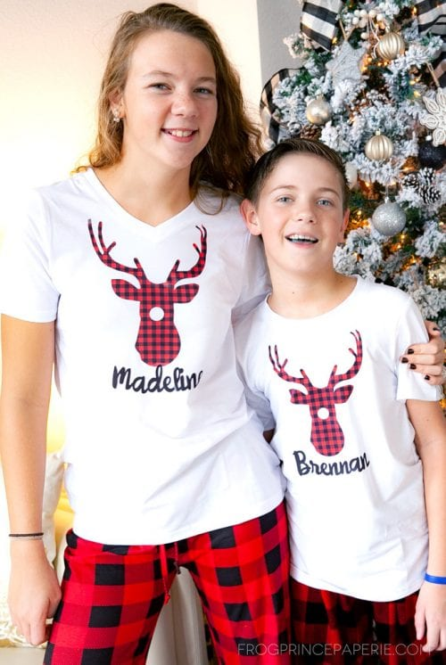 25 Cricut Personalized Gifts featured by top US craft blog, The Crafty Blog Stalker: personalized Christmas pajamas.