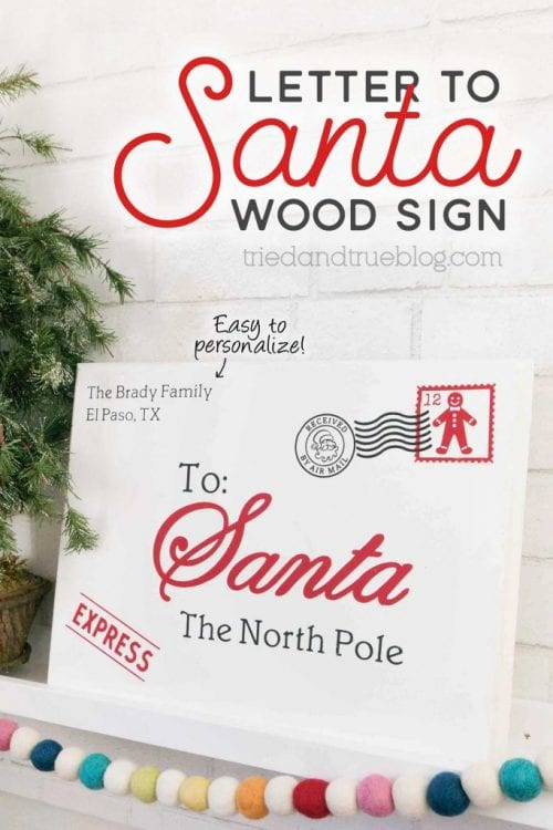 25 Cricut Personalized Gifts featured by top US craft blog, The Crafty Blog Stalker: letter to Santa wood sign.
