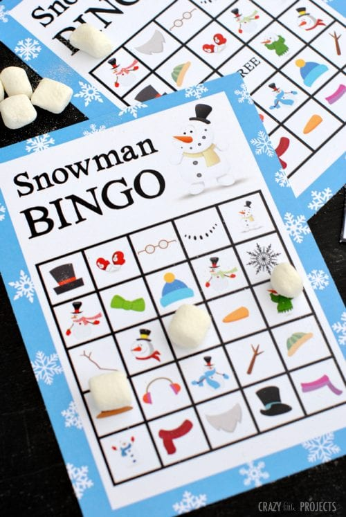 20 Super Fun Christmas Party Games for the Holidays featured by top US craft blog, The Crafty Blog Stalker: snowman bingo.