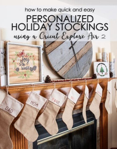 25 Cricut Personalized Gifts featured by top US craft blog, The Crafty Blog Stalker: personalized holiday stockings.