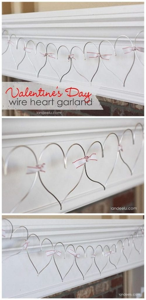 20 Sweet and Loving Valentines Decoration Ideas featured by top US craft blog, The Crafty Blog Stalker: wire heart garland.