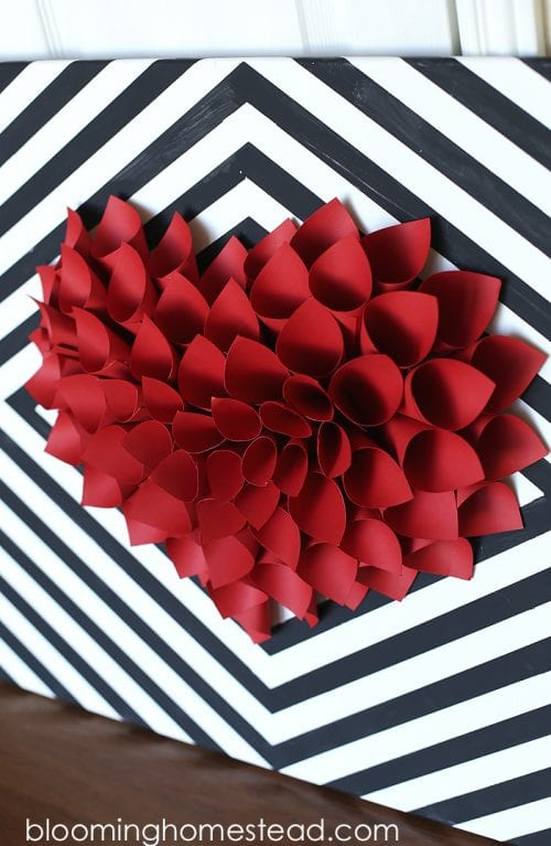 20 Sweet and Loving Valentines Decoration Ideas featured by top US craft blog, The Crafty Blog Stalker: large heart wall art.