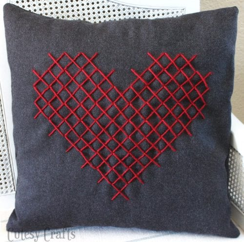 20 Sweet and Loving Valentines Decoration Ideas featured by top US craft blog, The Crafty Blog Stalker: cross stitch heart pillow.