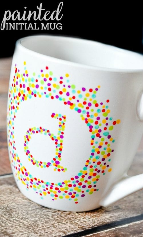 20 Handmade Gift Ideas featured by top US craft blog, The Crafty Blog Stalker: Painted Initial Mug