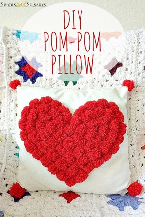 20 Sweet and Loving Valentines Decoration Ideas featured by top US craft blog, The Crafty Blog Stalker: pom pom pillow.