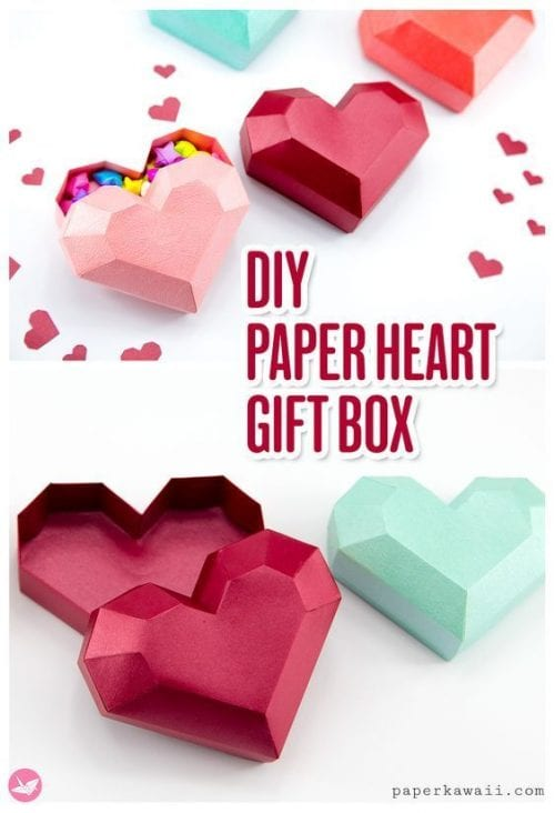 25 Easy Paper Heart Project Ideas, featured by top US craft blog, The Crafty Blog Stalker: Paper Hear Gift Box