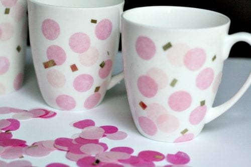 20 Fun DIY Coffee Mugs featured by top US craft blog, The Crafty Blog Stalker: DIY Confetti Mugs