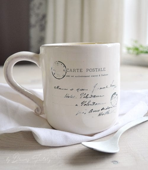 20 Fun DIY Coffee Mugs featured by top US craft blog, The Crafty Blog Stalker: 5 Minute Mug Decal Transfer on a Coffee Mug