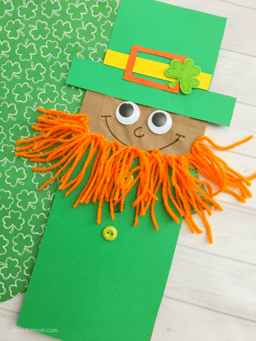 20 Lucky St. Patrick's Day Crafts for Kids featured by top US craft blog, The Crafty Blog Stalker: Leprechaun Paper Bag Puppet