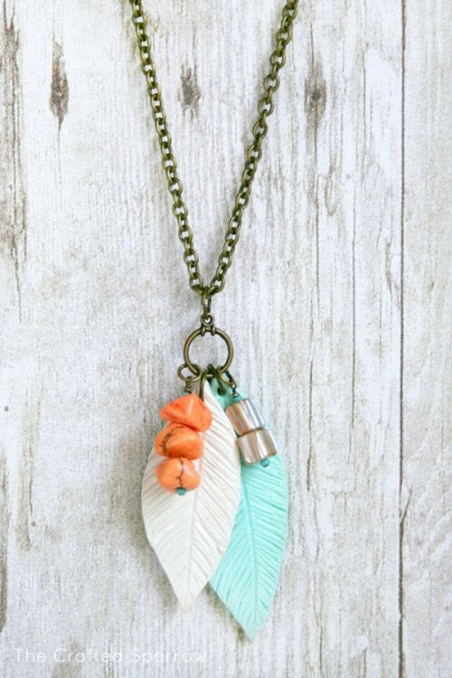 20 Unique Handmade Necklaces featured by top US craft blog, The Crafty Blog Stalker: Polymer Clay Feather Necklace