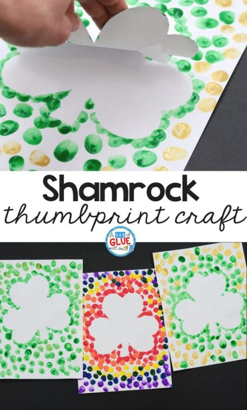 20 Lucky St. Patrick's Day Crafts for Kids featured by top US craft blog, The Crafty Blog Stalker: Shamrock Thumbprint Craft