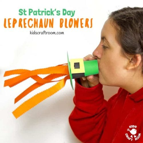 20 Lucky St. Patrick's Day Crafts for Kids featured by top US craft blog, The Crafty Blog Stalker: Leprechaun Hat Blowers