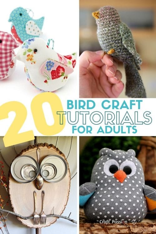 20 Fun Bird Crafts for Adults featured by top US craft blog, The Crafty Blog Stalker.