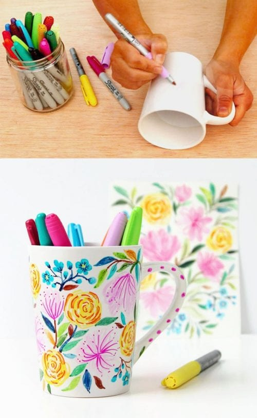 20 Fun DIY Coffee Mugs featured by top US craft blog, The Crafty Blog Stalker: Watercolor Flower DIY Sharpie Mug