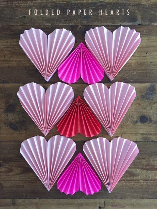 Folded Paper Hearts