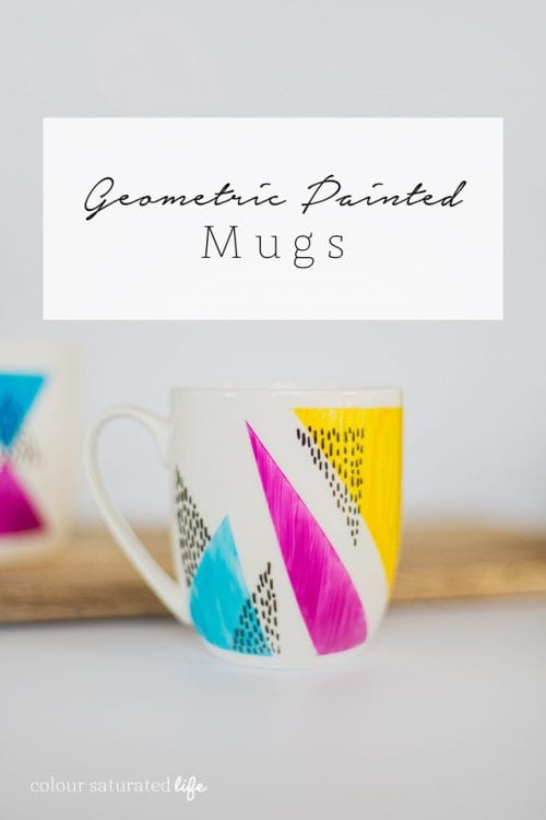 20 Fun DIY Coffee Mugs featured by top US craft blog, The Crafty Blog Stalker: Geometric Painted Mugs