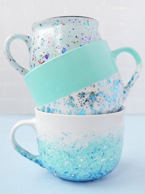 20 Fun DIY Coffee Mugs featured by top US craft blog, The Crafty Blog Stalker: DIY Glitter Speckled Mugs