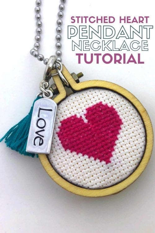 20 Unique Handmade Necklaces featured by top US craft blog, The Crafty Blog Stalker: Stitched Heart Pendant Necklace