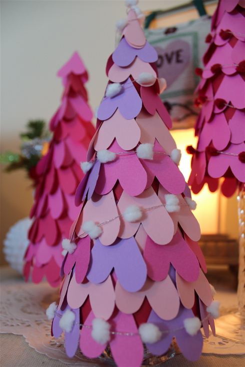 25 Easy Paper Heart Project Ideas, featured by top US craft blog, The Crafty Blog Stalker: Heart Cone Trees