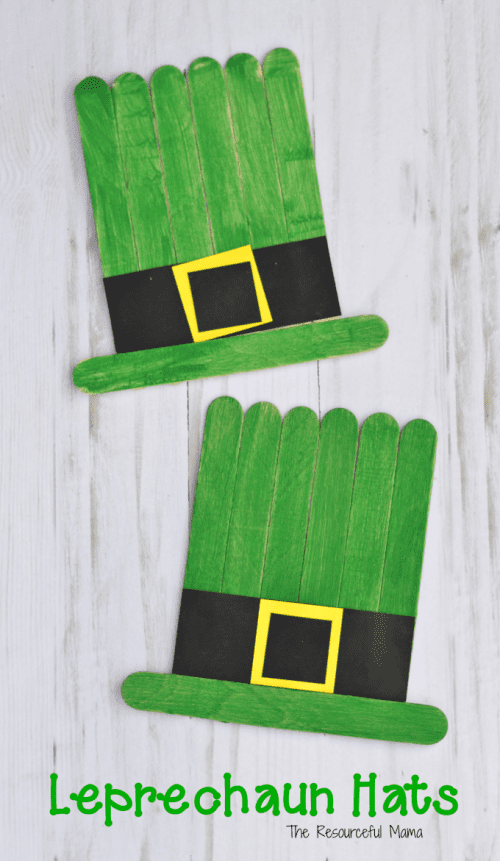 20 Lucky St. Patrick's Day Crafts for Kids featured by top US craft blog, The Crafty Blog Stalker: Craft Sticks Leprechaun Hat Craft