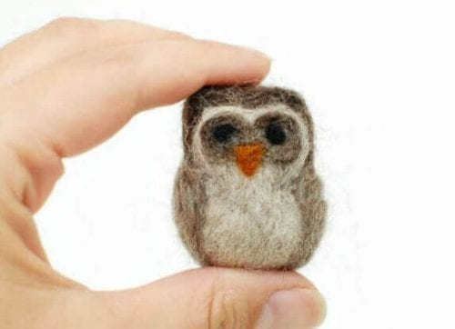 20 Fun Bird Crafts for Adults featured by top US craft blog, The Crafty Blog Stalker: Needle Felted Owl