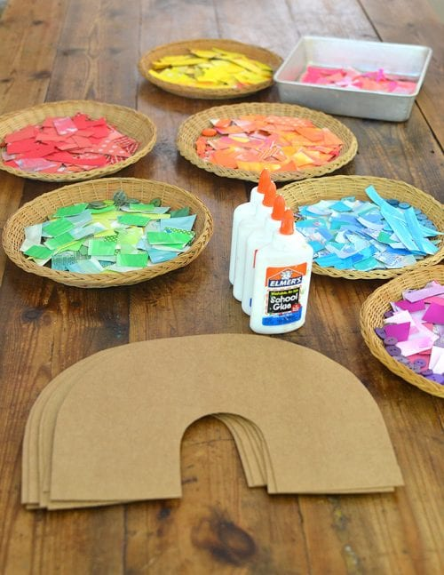 20 Lucky St. Patrick's Day Crafts for Kids featured by top US craft blog, The Crafty Blog Stalker: Cardboard Rainbow Collage