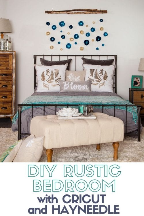 How to Create a Rustic Bedroom with Cricut and Hayneedle, featured by top US craft blog, The Crafty Blog Stalker.