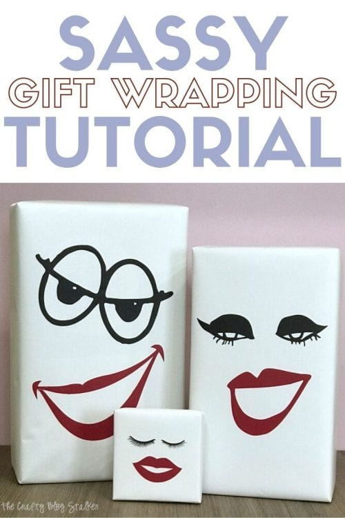 How to Make Sassy Gift Wrapping with Cricut Vinyl, a tutorial featured by top US craft blog, The Crafty Blog Stalker.