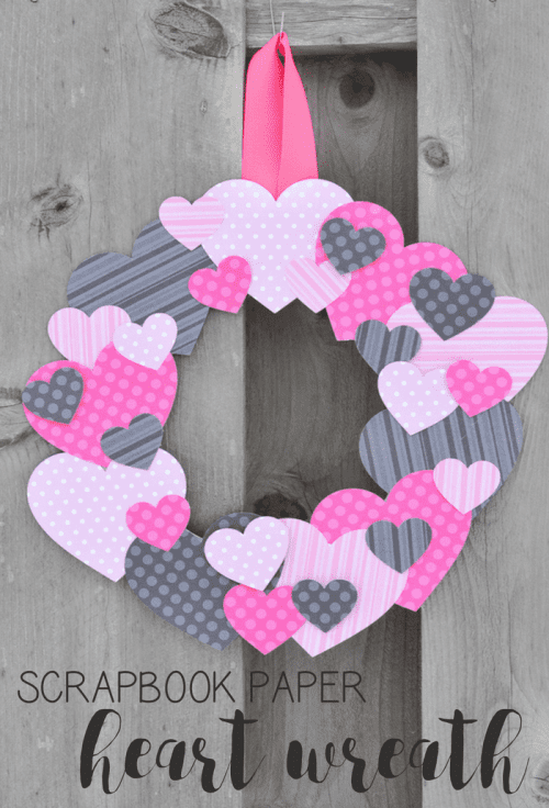25 Easy Paper Heart Project Ideas, featured by top US craft blog, The Crafty Blog Stalker: Scrapbook Paper Heart Wreath