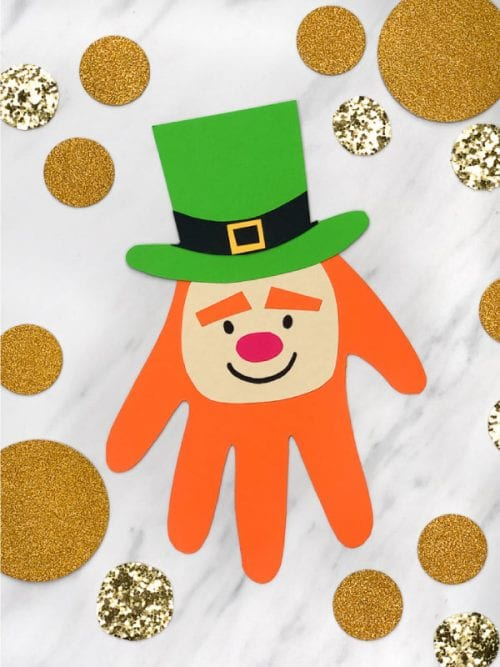 20 Lucky St. Patrick's Day Crafts for Kids featured by top US craft blog, The Crafty Blog Stalker: Handprint Leprechaun Craft
