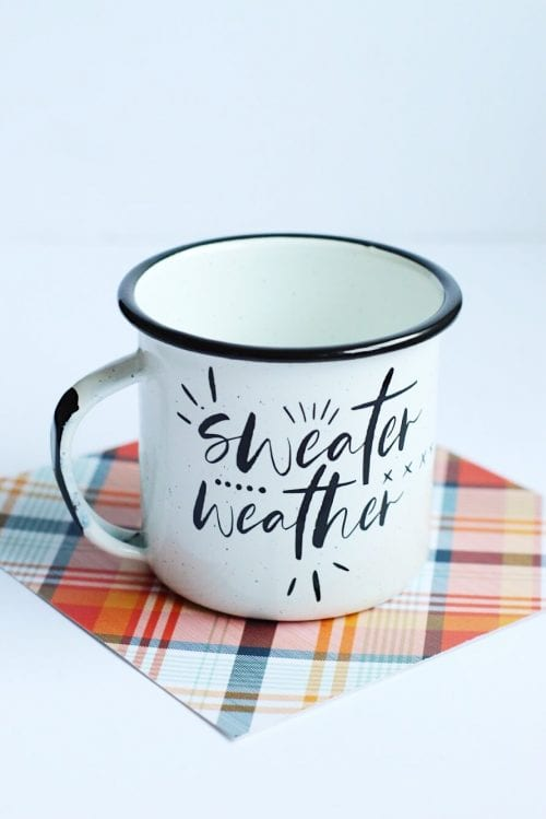 20 Fun DIY Coffee Mugs featured by top US craft blog, The Crafty Blog Stalker: DIY Sweater Weather Mug