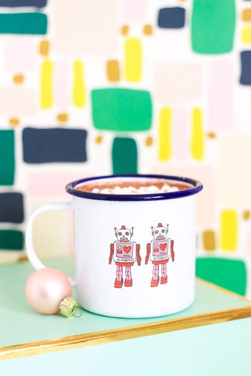 20 Fun DIY Coffee Mugs featured by top US craft blog, The Crafty Blog Stalker: Temporary Tattoo Mugs
