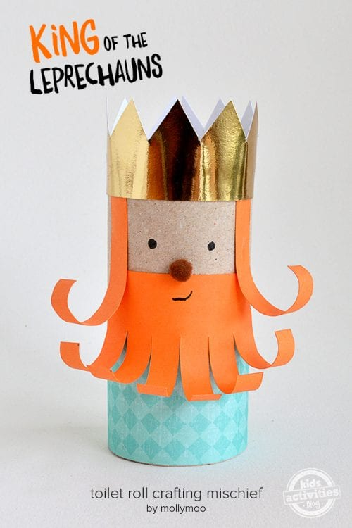 20 Lucky St. Patrick's Day Crafts for Kids featured by top US craft blog, The Crafty Blog Stalker: Toilet Roll Leprechaun King