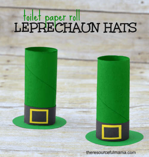 20 Lucky St. Patrick's Day Crafts for Kids featured by top US craft blog, The Crafty Blog Stalker:  Toiler Paper Roll Leprechaun Hats