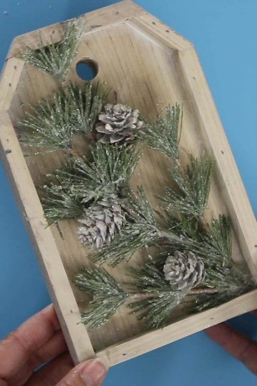 wood tag with winter pine floral tag