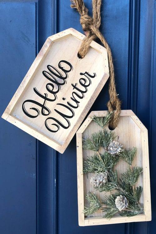 DIY Winter Wooden Door Tag Hanger