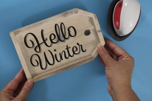 How to Make a DIY Winter Wooden Door Tag Hanger, a tutorial featured by top US craft blog, The Crafty Blog Stalker.