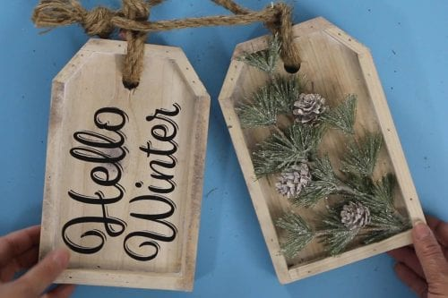 hello winter wood tags