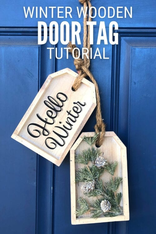 title image for How to Make a DIY Winter Wooden Door Tag Hanger