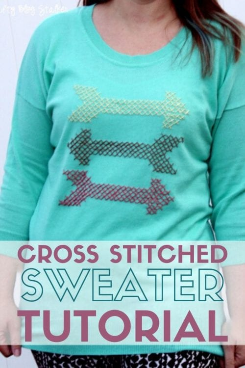 How to Make a Cross Stitch Sweater, a tutorial featured by top US craft blog, The Crafty Blog Stalker.