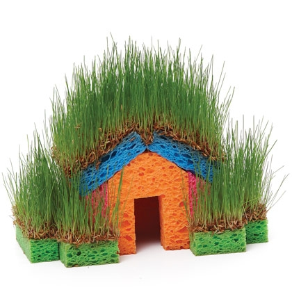 30 Fun Spring Break Crafts you can Make with Children featured by top US craft blog, The Crafty Blog Stalker: DIY Mini Grass House for Kids