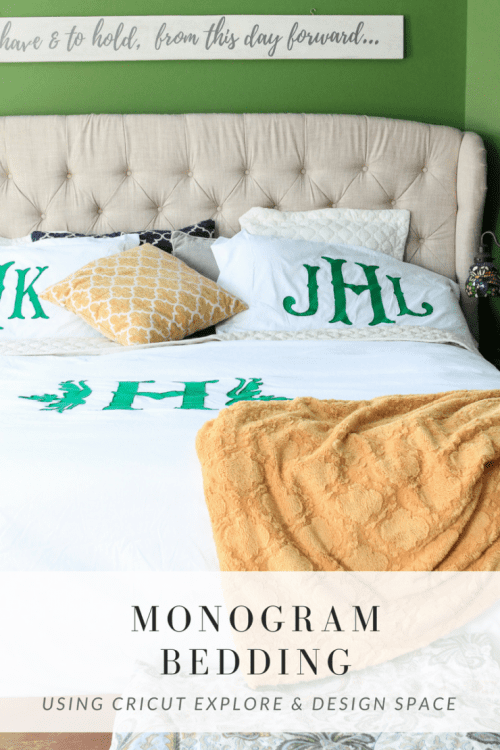 20 Personalized DIY Wedding Gifts for Newlyweds you Can Make with a Cricut, featured by top US craft blog, The Crafty Blog Stalker: Monogrammed Bedding